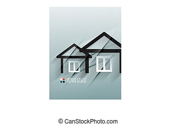 Vector house icon 3d paper design