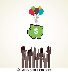 money required concept - every hand try to save more money...