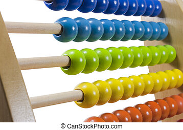 Abacus Closeup - Wooden abacus closeup, orange yellow green...
