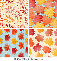 Set of seamless autumn patterns.