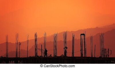 Worker Silhouette Building Sunrise