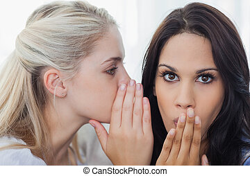 Friend telling secret to brunette woman at home on the couch
