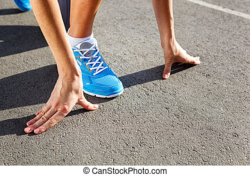 Closeup of runners shoe - running concept - Runner Feet...