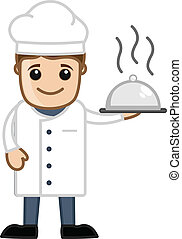 Chef Mascot Character - Drawing Art of Cartoon Chef...