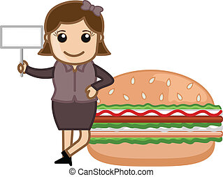 Girl Presenting Burger with Board