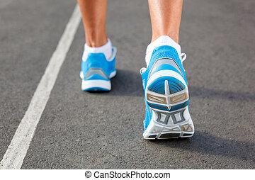 Primer plano, corredores, zapato, -, Funcionamiento,...