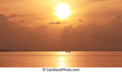 Fishermen Boat Sunset Sounds - Fishing boat in the high sea...