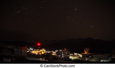 Star Sky Time Lapse - Star sky over the mountain village in...