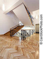 Classic staircase - Staircase in elegant style with wooden...