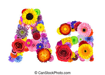 Flower Alphabet Isolated on White - Letter A - Letter A of...
