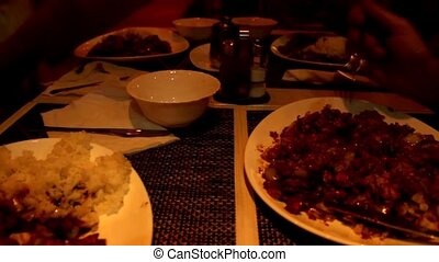 chinese food with chicken meat,rice,peanuts,soya...