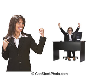 Successful businessteam - Two happy bussinesswomen enjoy...