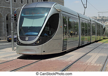 modern tram in old Jerusalem