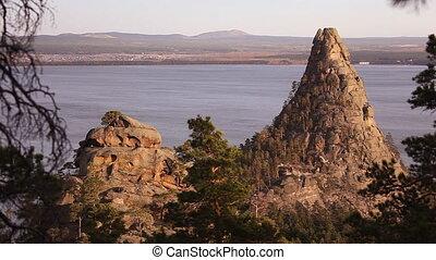Autumn landscape Okzhetpes Rocks, Burabay Borovoye in...