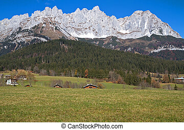 """Zahmer Kaiser"" mountains in Tyrol, Austria, in autumn"