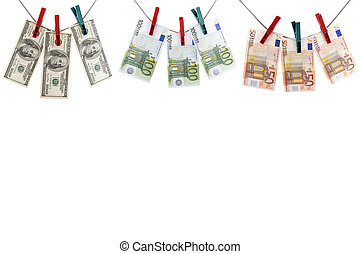 different paper currency - object on white - currency paper...