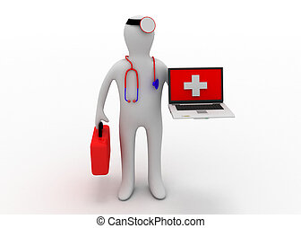 medic with computer