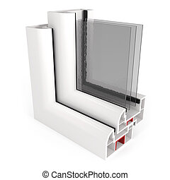 Part of Window Frame isolated on White - 3d illustration