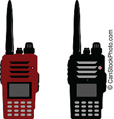 Walkie talkie or police radio and radio communication