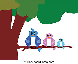 bird family with tree