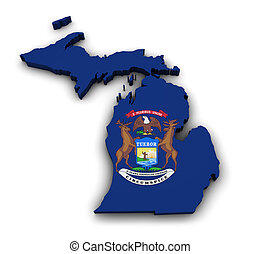 Michigan Map Flag Shape - Shape 3d of Michigan state map...