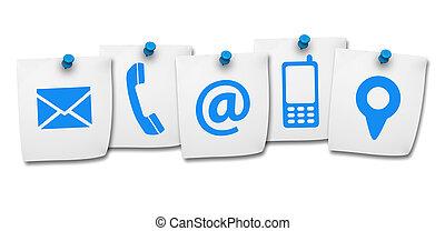 sitio web, contacto, nosotros, iconos, en, poste, él