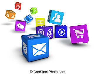 Website Social Media And Internet Cubes - Website, social...