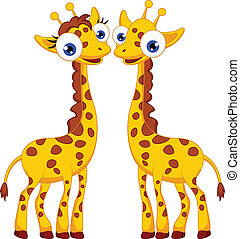 Cute giraffe cartoon couple - vector illustration of Cute...