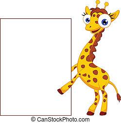 Cute giraffe cartoon with blank sig - vector illustration of...