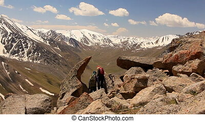 Active People Mountains Summer - Group of hikers in the...