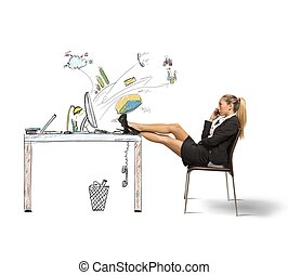 Relax of a businesswoman - Concept of relax of a...