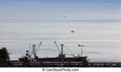 Ships Float High Sea Siam Gulf Camb - Ships floating in the...