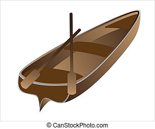 boat - brown rowing boat on a white background