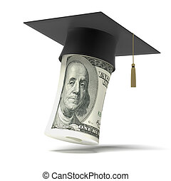 Education dollar isolated on a white background