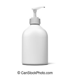 white plastic bottle  isolated on a white background