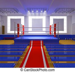 boxe, ginásio, azul, anel, vermelho, cantos
