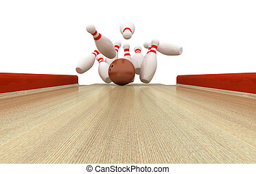 Perfect Bowling Strike - 3d illustration