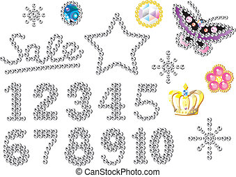 rhinestone numbers, ornaments and decorations, set