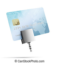 mobile credit card reader isolated on a white background