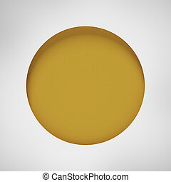 white paper notched out round bubble isolated on a white...