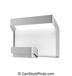 Modern trade exhibition booth isolated on a white background