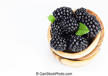 Blackberries - Fresh organic blackberries in olive wood...