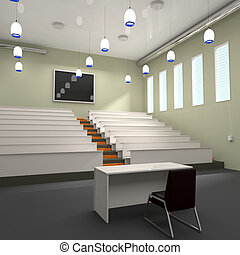 Empty Lecture Hall in University - 3d illustration