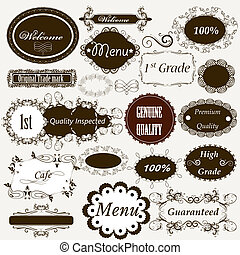 Calligraphic retro elements and page decorations - Set of...