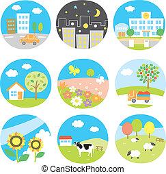 scenery icons set