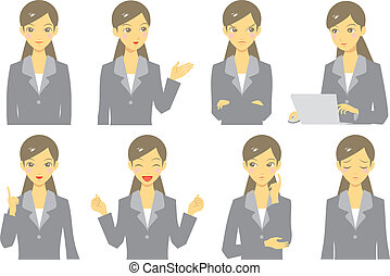 woman expression - woman in suit expression, set