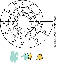Spiral Puzzle - Spiral puzzle with single pieces which can...