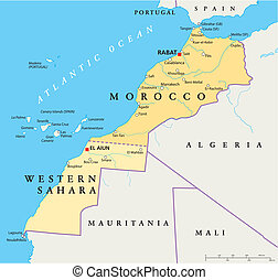 Morocco And Western Sahara Politica - Political map of...