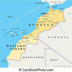 Morocco And Western Sahara Politica - Political map of...
