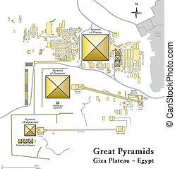 Pyramids of Giza Map - Illustration of the Giza Necropolis...
